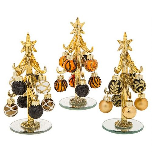 Small Gold Glass Christmas Trees with Gold and Black Baubles